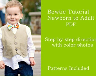 Bowtie PDF Sewing TUTORIAL for Sizes Newborn to Adult