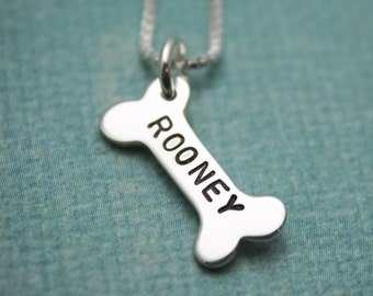 Personalized Dog Bone Necklace Hand Stamped Jewelry Pet Remembrance Necklace Pet Memorial Jewelry Dog Bone Name Dog Lovers Gift