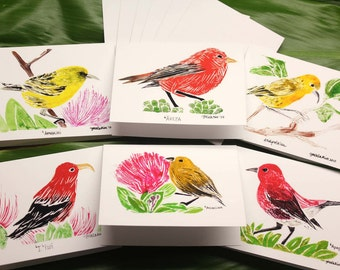 """Greeting Cards, 6 Different Native Hawaiian Honeycreepers, with Envelopes, 4"""" x 6"""""""
