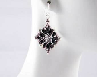 "READY TO SHIP Superduo Silver and Metallic Amethyst Beadweaving Earrings ""Arabesque No. 3"""
