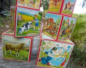 Vintage Nesting Blocks Fairy Tale Farm Animal Stacking Box Blocks Beautiful Illustrations Nursery Decor