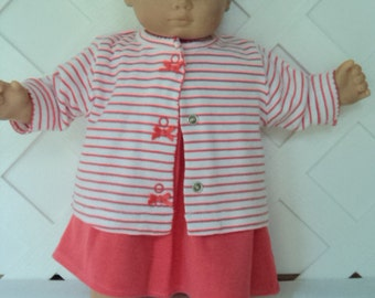 Bitty Baby Girl cute 4  pc  sweater   dress outfit  with a headband and socks doll clothes