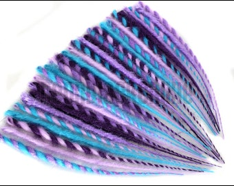 Single ended dread extensions - Turquoise, lilac and purple dreads - set of 20 - Made to order