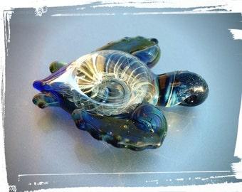 Lampwork Sea Turtle, borosilicate glass sea turtle pendant, borosilicate sea turtle, lampwork sea turtle
