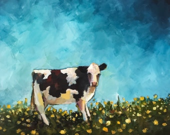 Holstein in a Field of Poppies- Original Painting by Cari Humphry