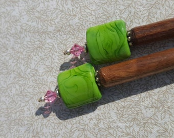Green and pink lampwork hairsticks