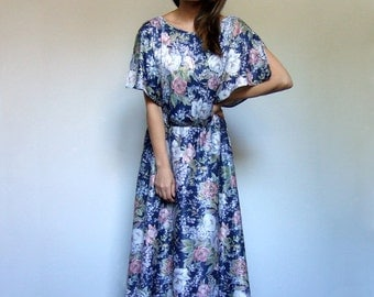 70s Blue Dress Vintage Floral Summer Dress 1970s Boho Sundress - Large to Extra Large L XL