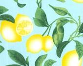 "20% OFF Lemon Print Blue Cotton Lawn, Gertie by Gretchen Hirsch Fabric, 43"" wide, 1 yard"