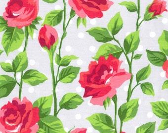 "Grey Sateen Rose Border Print, Gertie by Gretchen Hirsch Fabric, 43"" wide, 1 yard"