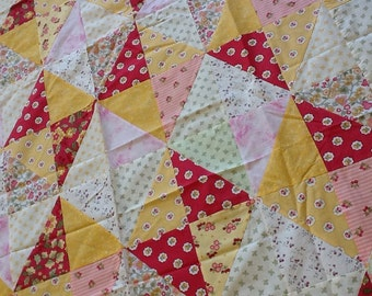 Quilt Top : pink/yellow diamonds Handmade/Unfinished