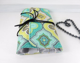 Jewelry Travel case, Aqua yellow gray jewelry roll organizer, Necklace, earring, ring travel pouch, cotton jewelry roll