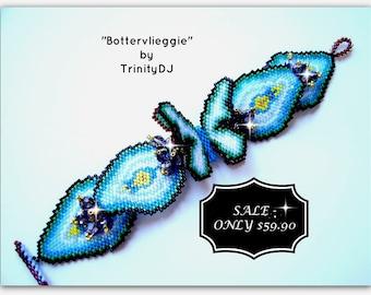 BR-081-2016-096 - Bottervlieggie - Brick Stitch Bracelet - One Of A Kind Design