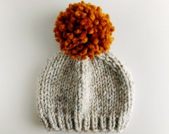 Pom Pom Hat // Toddler Hats for Boys // Knitted Hats for Kids // Hats for Babies