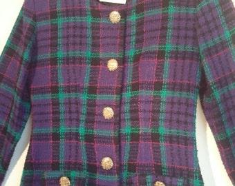 FLASH SALE 80s plaid two piece suit blazer jacket mini skirt Rampage 1980s 80s tartan boho punk