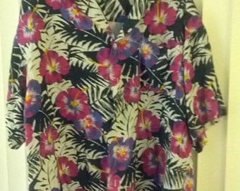 SALE XL Hawaiian shirt skater tiki surfer flowers floral men boho hippie beach summer 90s Islander