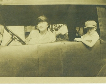 Fabulous Flapper and Son Sitting in a Car Woman Driver Little Boy 1920s 20s Antique Vintage Black and White Photo Photograph