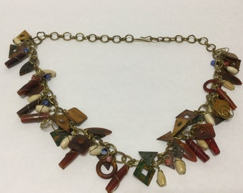 Mixed Material Dangling Vintage Bead Necklace