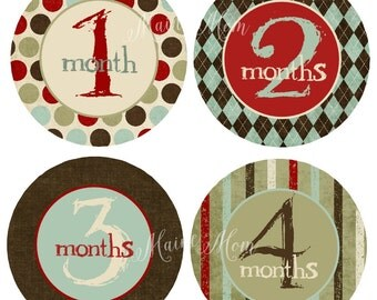 FREE GIFT, Baby Boy Month Stickers, Baby Boy Monthly Stickers, Milestone Sticker, Bodysuit Monthly Photo Stickers, Vintage Nursery Decor