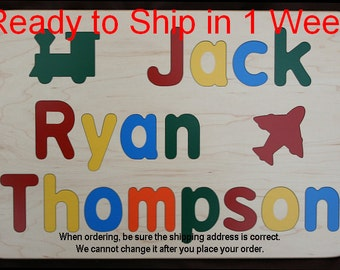 Wooden Name Puzzle for Three Names - Custom Personalized - Birthday Gift - Flush or Raised Wood Letters - Educational Toy - Kids Wood Name