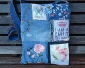 """Mixed Denim Fabric Patchwork Bag """"Child of God"""",Handmade CrossBody Bag, Eco-Friendly bag,Shoulder Bag,Messenger Bag,Quilted Bag,Pink & Blue"""
