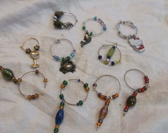 Lot of 10 Assorted Wine Glass Beaded Rings Hoops Charms (#09)