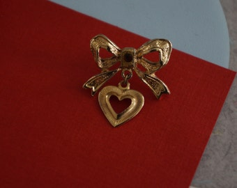 Vintage Goldtone Bow Brooch with Darling, Dangling Heart Charm- Hollywood Regency Cuteness