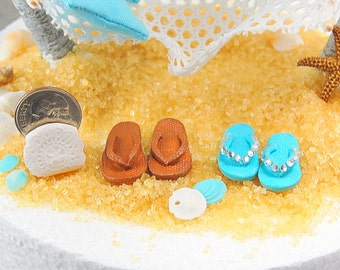 Miniature Flip Flops With Bling! Bride and Groom Custom Made To Order In Your Colors For Beach Wedding Cake Top