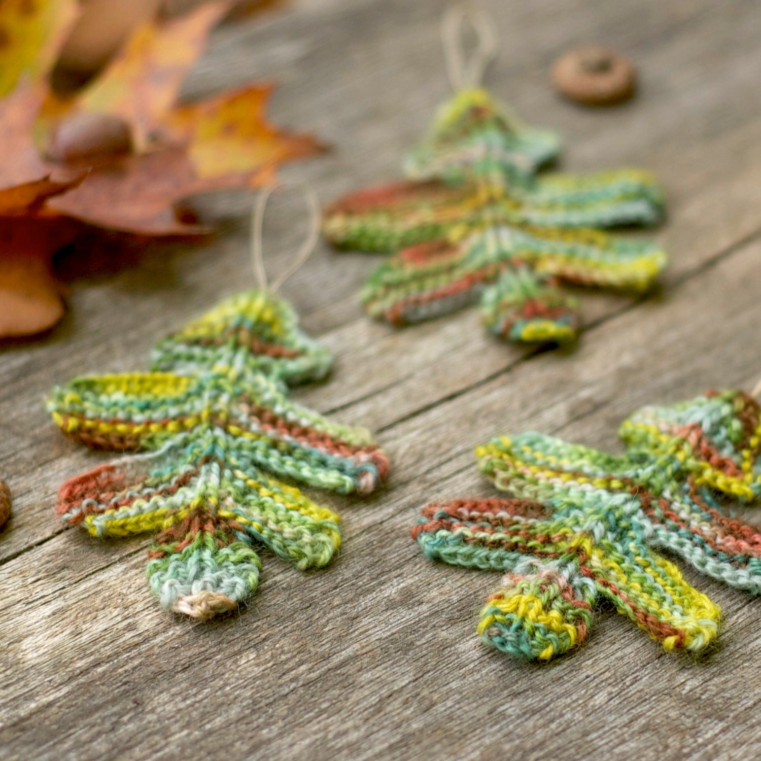 Knitting Pattern Oak Leaves Knitted Garland Autumn