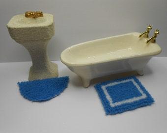 dollhouse miniature plush rug blue set
