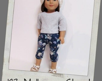 "18"" Doll Clothes, AG doll clothes- Striped T-shirt , Floral Cropped Pants, Slouch Hat  fits 18"" dolls like American Girl, Maplelea"