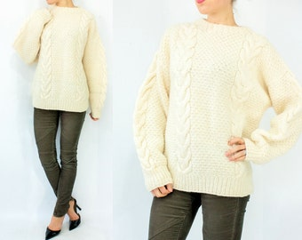 SALE...Ivory Wool Cable Knit Fisherman Sweater / 70's Vintage Jumper / Chunky Knit Oversize Sweater