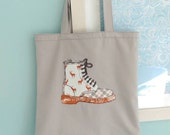 Freehand Machine Embroidery 'Boot' Tote Bag. Handmade in linen, fully lined.