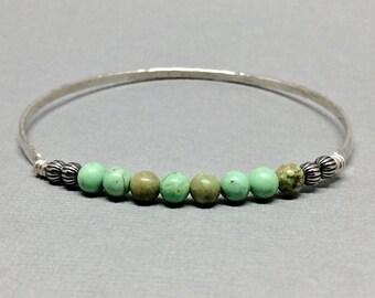 Western Bangle, Sterling Silver Bangle Bracelet, Turquoise Bangle, Western turquoise Jewelry, Boho bangle, Turquoise boho jewelry