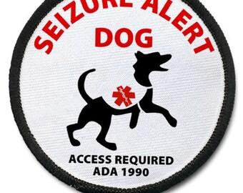 SEIZURE ALERT DOG Black Rim Medical Alert Sew-on Patch (Choose Size)