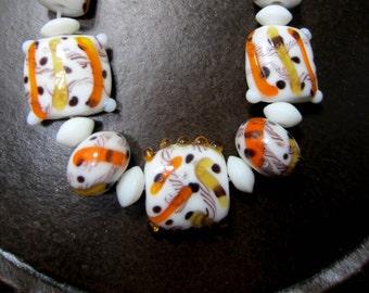 23 Orangs white lampwork beads strand handmade glass bead beadwork supplies assorted size bead set SB1