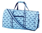 Special 4 Piece Set - Monogramed Blue Fin Duffle Bag, Toiletry Bag, Tote Bag and Backpack; Great Birthday or Baby Gift for Boys