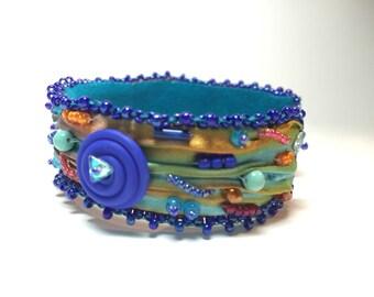 Shibori bead embroidered bangle cuff bracelet