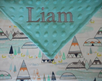 Personalized Monogrammed Indian Summer Baby Blanket Tribal TeePee Minky Baby Boy Neutral 29x34
