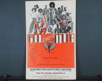 "Rare 1970s Black Musical  ""600 Dollars and a Mule"" Los Angeles Cast Poster"