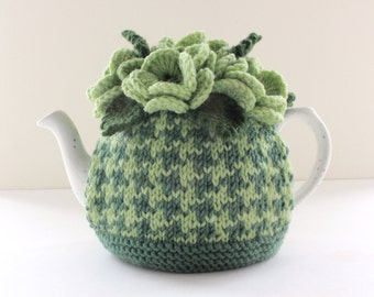 Hedgerow Houndstooth - Hand knitted Floral Tea Cosy - in Merino Wool & Cashmerino - Size SMALL - by Tafferty Designs