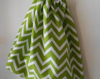 CLOSING DOWN SALE- Buy 2, Get 3rd Free- Meduim Green Chevron Cotton Drawstring Bag, Reusable Gift Bag, Shoe Bag, Toy Bag, Handmade Australia