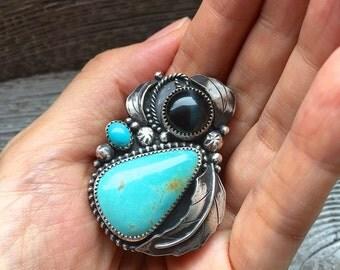 Hawk's Eye & Turquoise big statement Ring // adjustable ring / multiple gemstone ring / turquoise ring / blue tiger's eye / bohemian