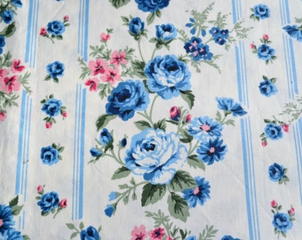 Vintage Fabric - Blue Cottage Roses Tole Stripe - By the Yard
