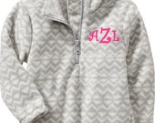 Girls Monogrammed Grey Zig Zag Personalized Fleece Gray Chevron Quarter Zip Pullover Preppy 18-24mth-2T-3T Toddler