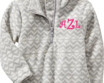 Girls Monogrammed Grey Zig Zag Personalized Fleece Gray Chevron Quarter Zip Pullover Preppy 18-24mth-2T-3T Toddler