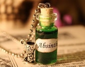 ON SALE Glass Vial Necklace - Absinthe - Halloween Jewelry