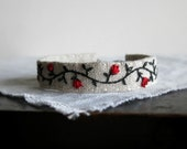 Valentine Gift - Red Roses Hand Embroidered Cuff Bracelet - Textile Art Jewelry - Handmade by Sidereal