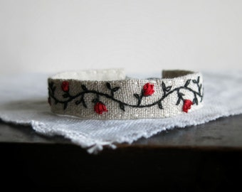 Red Roses Hand Embroidered Cuff Bracelet - Textile Art Jewelry - Handmade by Sidereal