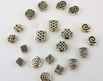 20 Assorted Silver Celtic beads for jewelry making