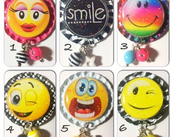 TOP Only**Cute Smiley Faces Interchangeable Badge Reel Tops  *PICK ONE*